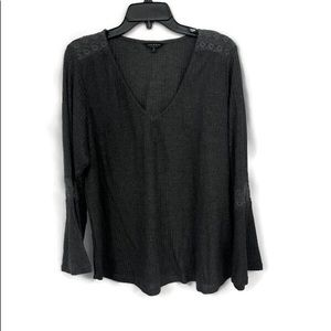 LUCKY BRAND PEASANT WAFFLE DEEP V NECK TOP 1X